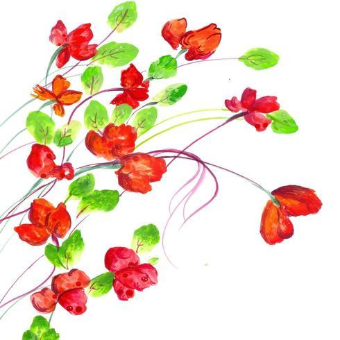 Bella composizione acquerello e rosso floreale