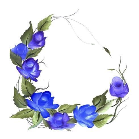 Belle composition florale aquarelle pourpre et bleue