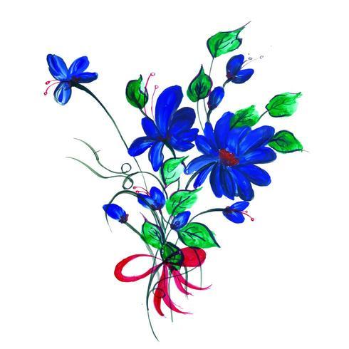 Hermoso arreglo floral azul y púrpura de acuarela