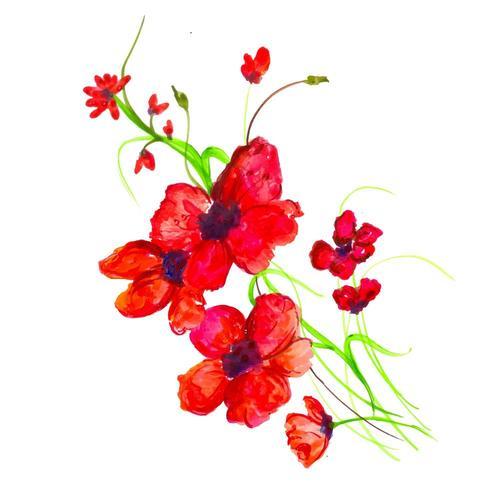 Hermoso Acuarelarosa Y Arreglo Floral Rojo Descargar