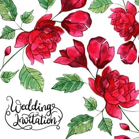 Blommigt inbjudningskort för bröllop
