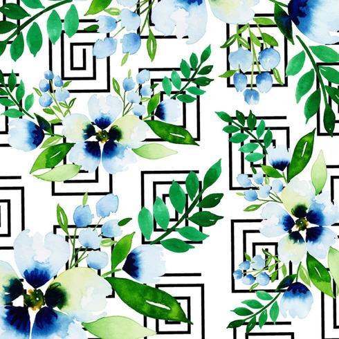 Watercolor Memphis Floral Background  vector