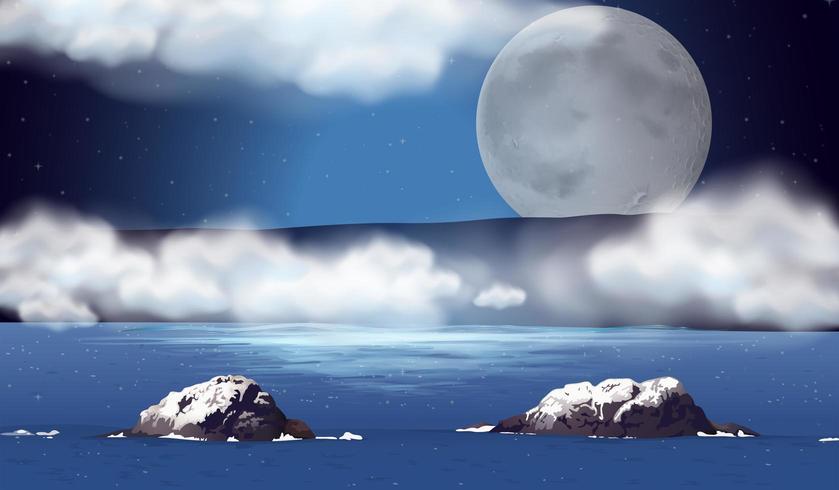 Cena com lua cheia sobre o oceano