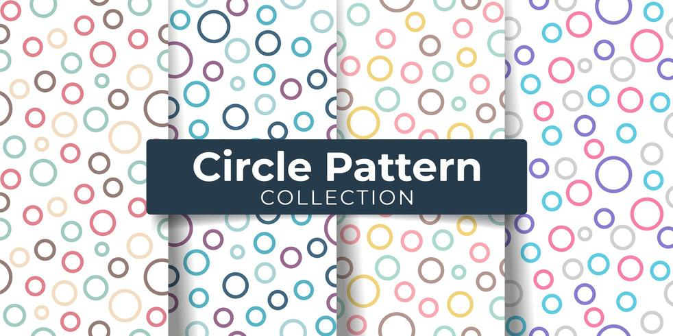 Conjunto de padrão sem emenda colorido de círculo redondo