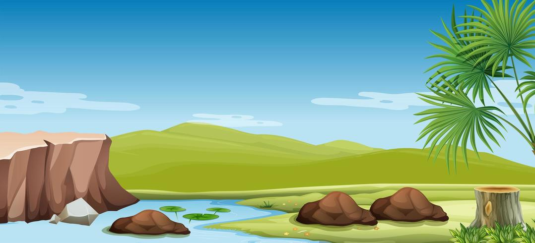 Escena de la naturaleza del río y el campo vector
