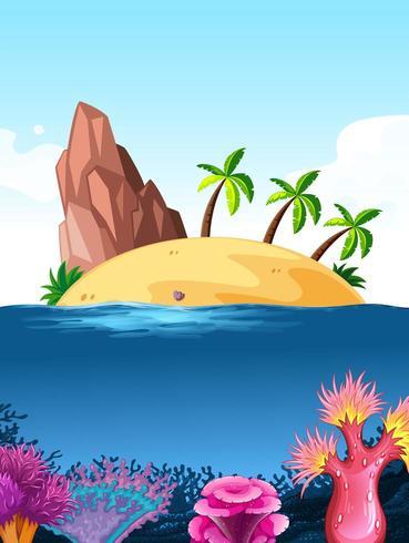Cena da natureza com ilha no oceano acima de recifes de corais
