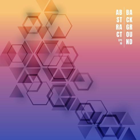 Triángulos abstractos y hexágonos degradados de color vector
