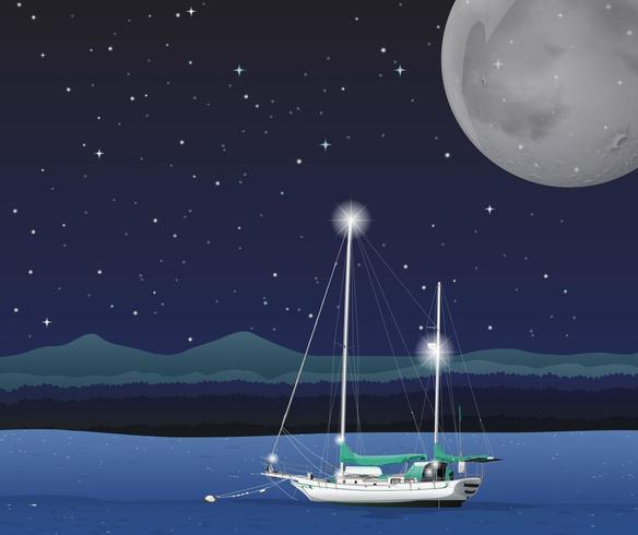 Cena do oceano com veleiro na noite de lua cheia