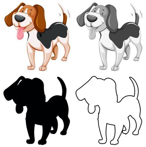 Conjunto de siluetas y contornos de personajes de perros vector