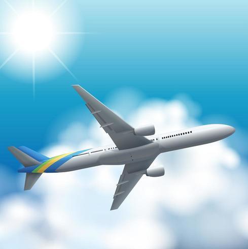 Aeroplano che vola su nel cielo