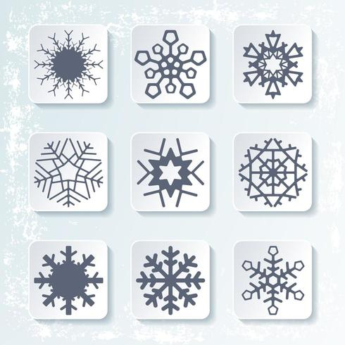 Set of 9 various snowflakes. Vector illustration