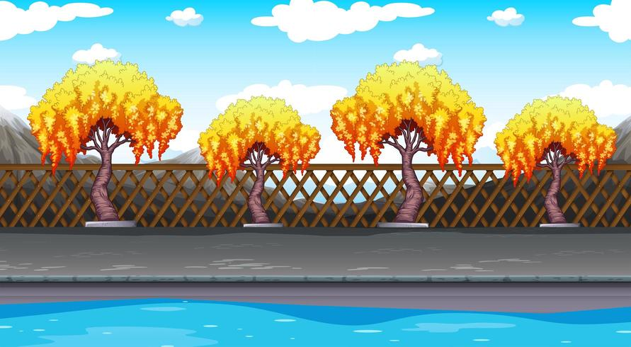 Plano de fundo sem emenda com árvores ao longo da estrada