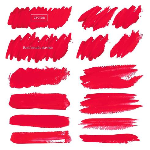 Set of Red Brush Strokes on White Background