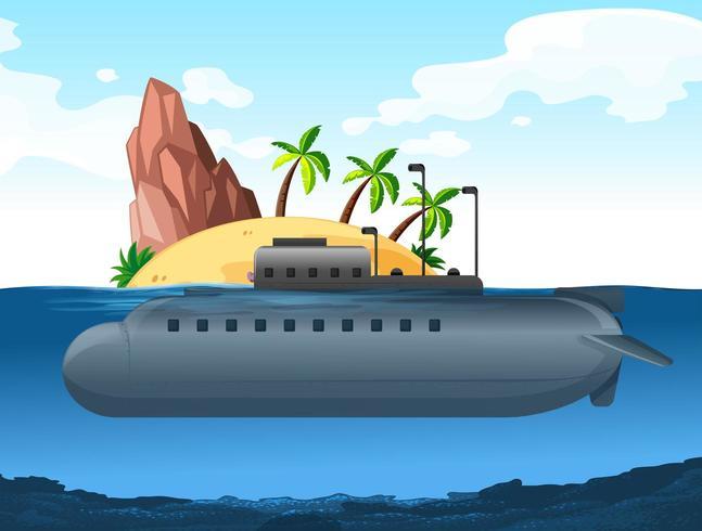 Onderzeeër onder een eiland