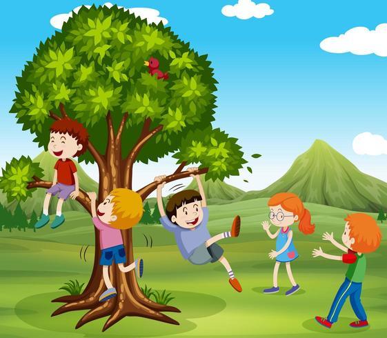 Niños jugando en un parque en un árbol vector