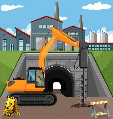 Scena di costruzione di strade con trapano