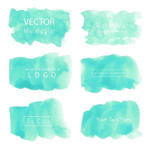 Collection of Modern Watercolor Splotch Squares vector
