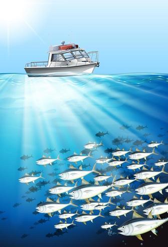 Barco de pesca e peixe no fundo do mar