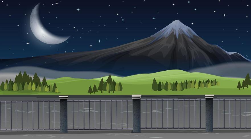 Un paisaje de montaña natural en la noche