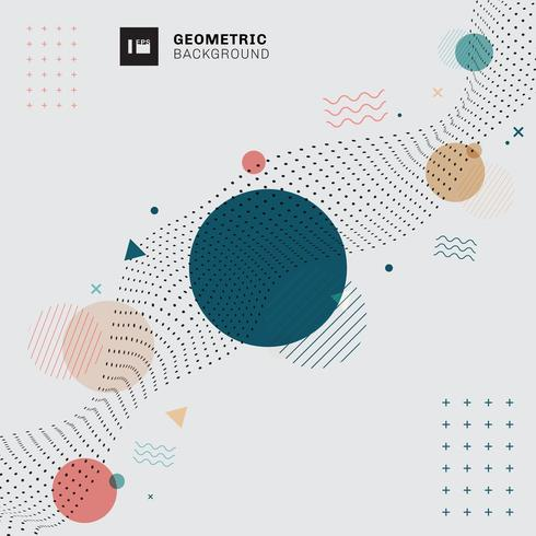 Abstract memphis geometric circles, triangles, wavy lines vector
