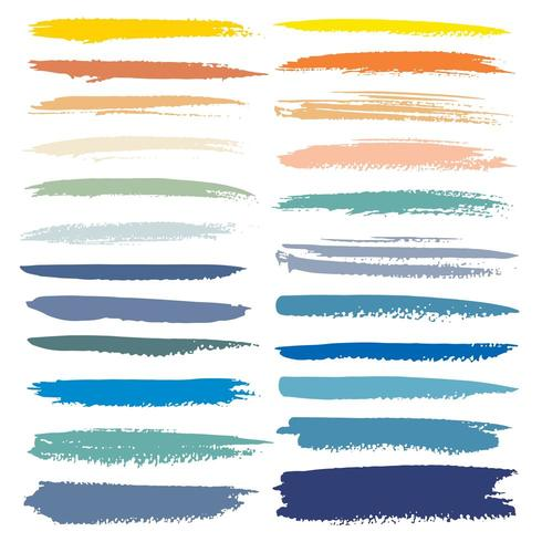 Set of Fall Color Brush Stroke sets vector