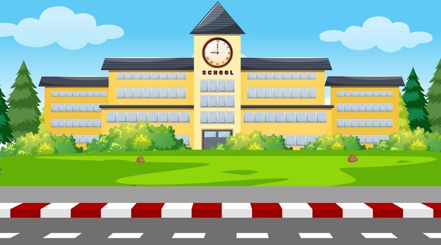 Un fondo de edificio escolar vector