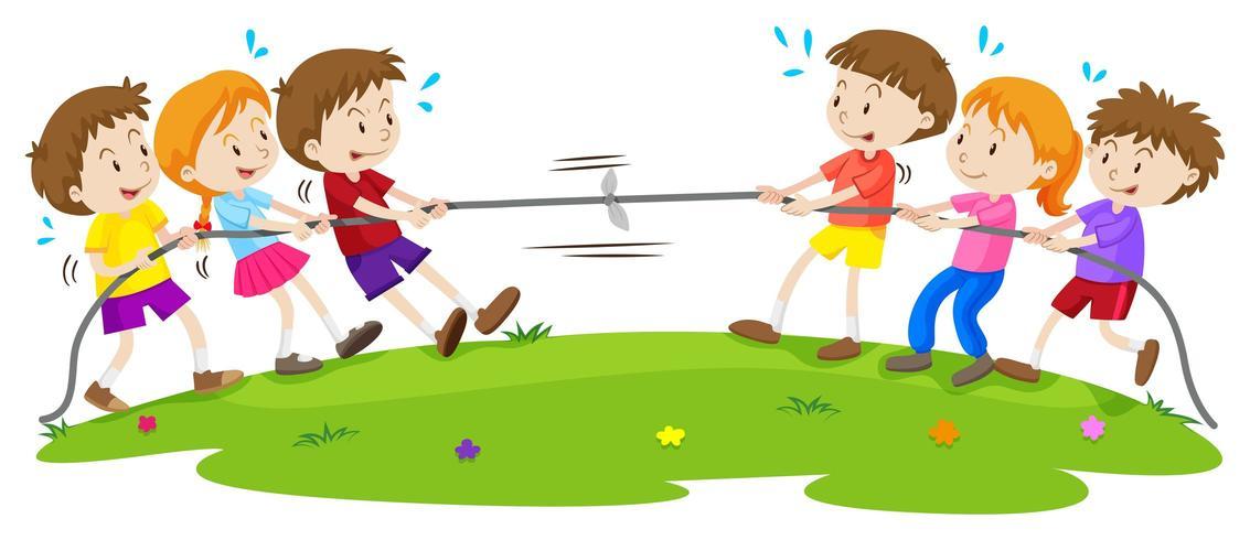 Barn som spelar dragkamp på parken