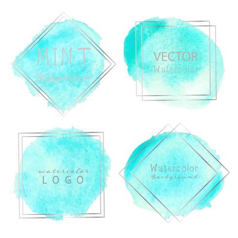 Blå akvarell pastell ramuppsättning