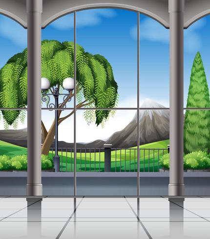 Habitación con ventana a la naturaleza. vector