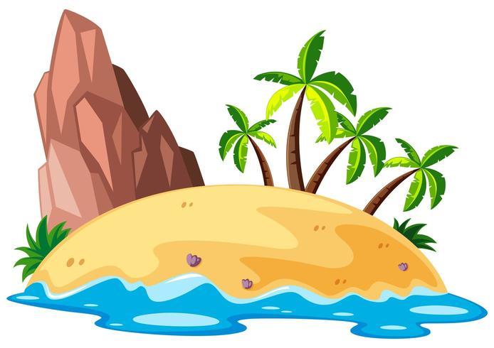 Escena con isla en el mar vector