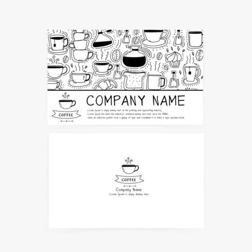 Biglietti da visita con le icone disegnate a mano del caffè di scarabocchio per la caffetteria o il ristorante.