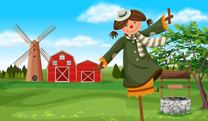 Scarecrow in the farm field