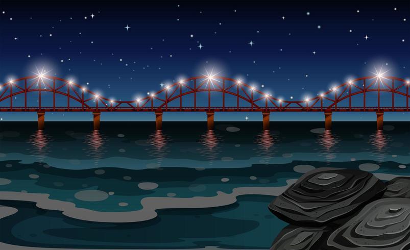 Scena dell'oceano con il ponte di notte