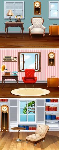 Tres escenas de habitaciones en la casa. vector