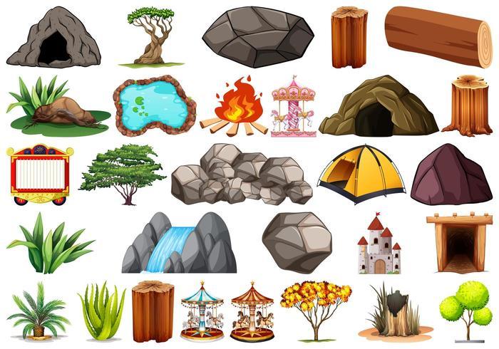 Conjunto de diferentes objetos de naturaleza y diversión. vector