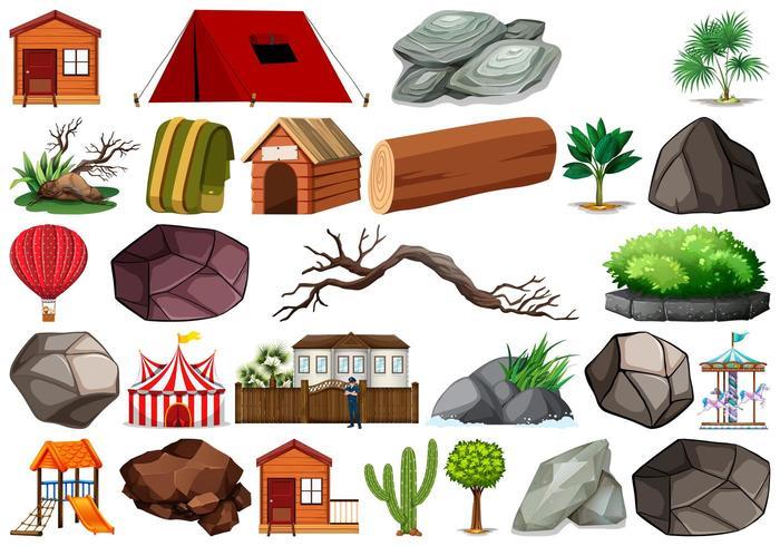 Conjunto de objetos da natureza em fundo branco