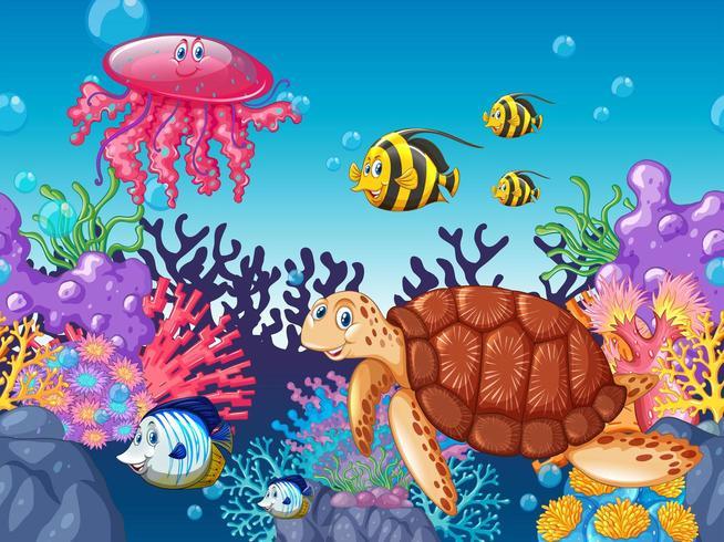 Animali marini del fumetto che nuotano sotto l'oceano