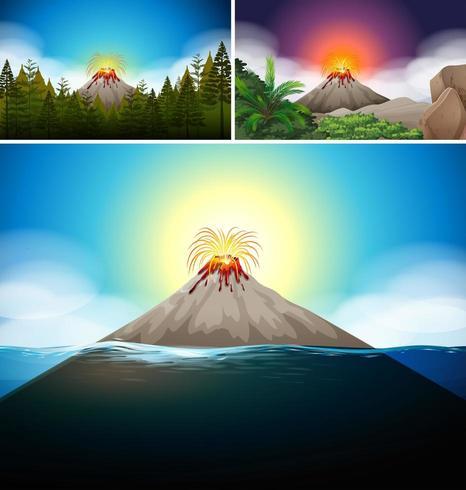 Scener med vulkan i skog och hav