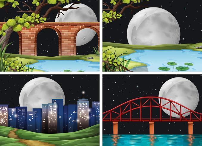 Quatro cenas da cidade na noite de lua cheia