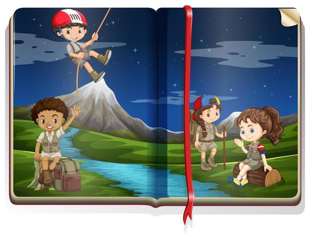 Prenota le pagine con i bambini in campeggio nel parco di notte vettore