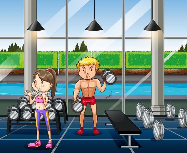 Le persone che esercitano in sala pesi