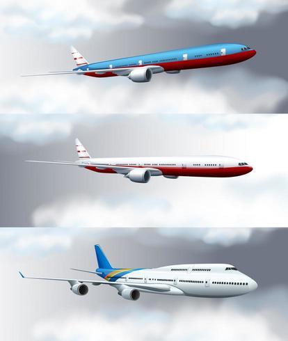 Tres escenas con aviones a reacción volando en el cielo