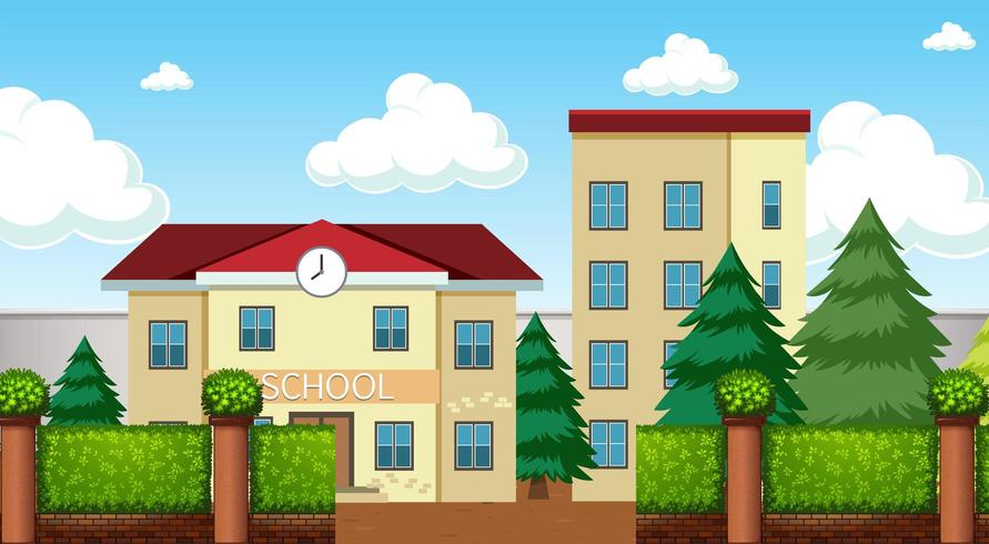 Een scène met een schoolgebouw