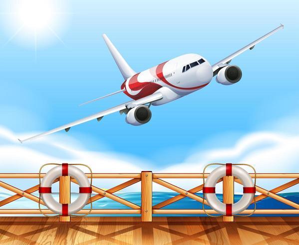Szene mit dem Flugzeug, das über die Brücke fliegt