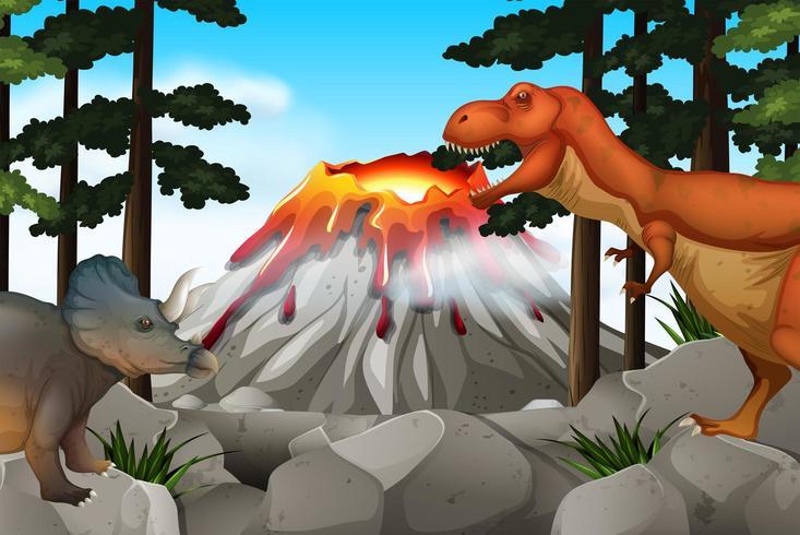 Cena com dinossauros e vulcão vetor