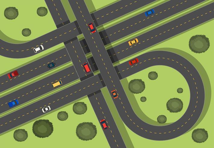Luftszene mit Straßen und Autos nähern sich Gras