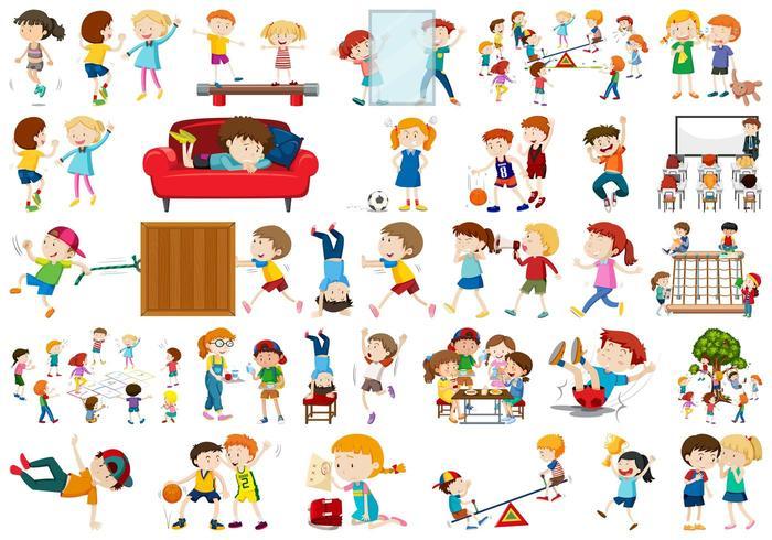 Reihe von aktiven Kinder Zeichen
