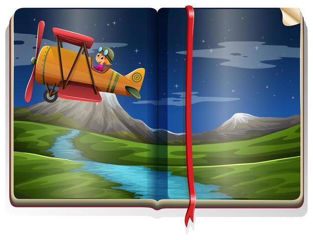 Scena del fiume con il volo dell'aeroplano in un'illustrazione di libro