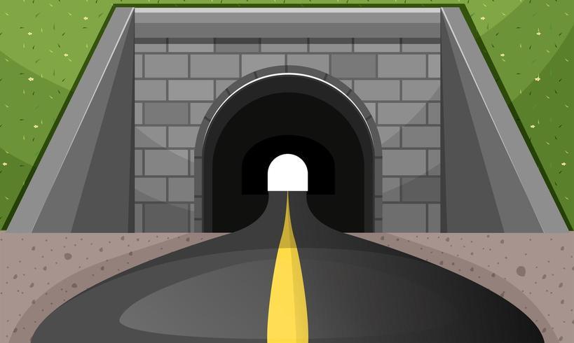 Camino pasando por el túnel vector