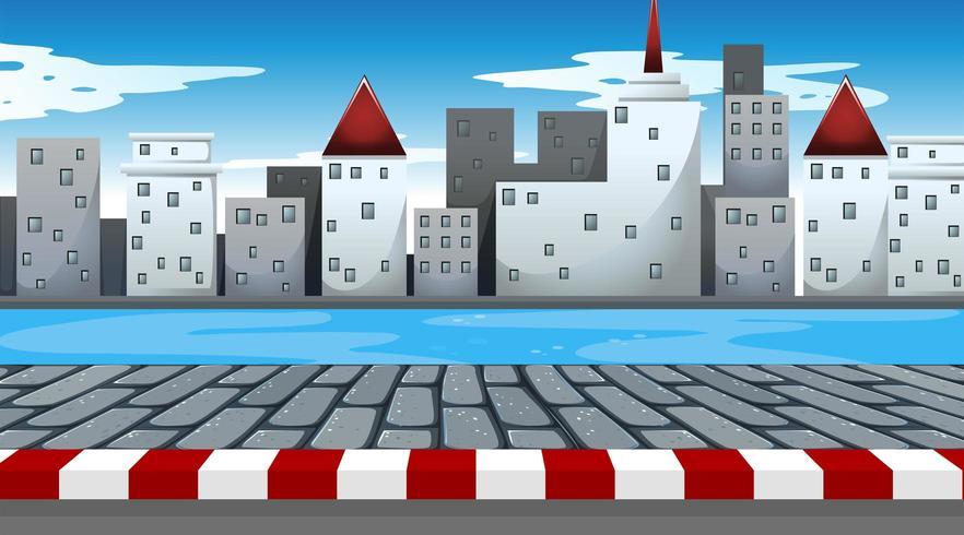 Uma cena urbana simples perto da água